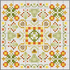 Biscornu ... no color chart available, just use the pattern chart as your color guide.. or choose your own colors...  | Biscornu Patterns Free Page Kootation
