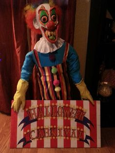This is diy prop I did for the haunted carnival Halloween Party...Bobo the miget clown!