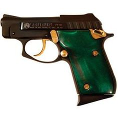 Taurus PT-22 Semi Auto Handgun .22 LR 8 Rounds 2.75 Barrel Fixed Sights Green Handles with Black Finish and Gold accents 1-220031GEG