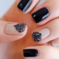 Black arabic desing on nails. Just perfect