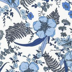 Lennox Gardens Cotton Voile / Lawn Fabric, Park Floral, Delft SRK-14653-75, by Robert Kaufman. Fabric by the Yard