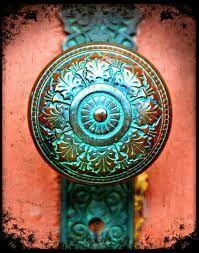 verdigris doorknob