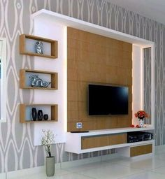 Browse our gallery of modern TV wall units and tips for how to integrate the modern TV wall unit designs for living room and modern TV stands in the living room interior, modern TV units Wall Unit Designs, Living Room Tv Unit Designs, Tv Unit Decor, Tv Wall Decor, Wall Tv, Lcd Wall Design, Lcd Unit Design, Tv Wanddekor, Tv Unit Furniture Design