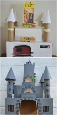 This cardboard castle box craft is seriously fit for a princess (or prince).