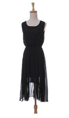 Irregular hem swallowtail skirt flowing chiffon sleeveless dress $29.24
