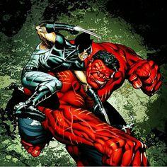 Red Hulk vs Wolverine