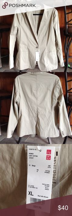 "UNIQLO beige jacket, size XL, nwt UNIQLO beige jacket, women's size XL, bust 40-41"", light weight-not lined, nwt Uniqlo Jackets & Coats Blazers"