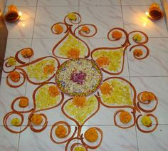 Christmas Messages New Year Messages Rangoli designs and pattern! Rangoli Patterns, Rangoli Designs Diwali, Diwali Rangoli, Rangoli Designs With Dots, Beautiful Rangoli Designs, Diwali Decorations, Festival Decorations, Flower Decorations, Diwali Lights