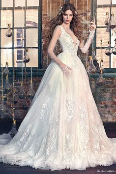 galia lahav spring 2016 bridal dresses sheer long sleeves deep v plunging neckline wedding ball gown dress snow white