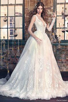 galia lahav spring 2016 bridal dresses sheer long sleeves deep v plunging neckline wedding ball gown dress snow white