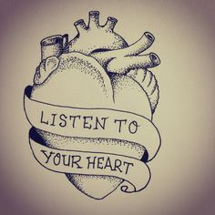 Listen to your Heart #dotwork tattoo flash