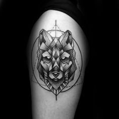 Upper Arm Triangle And Circle Geometric Wolf Tattoos For Guys