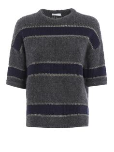 Brunello Cucinelli: crew necks - Cashmere blend striped crewneck