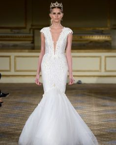 BERTA Handcrafted lace dress, pearl embellished, plunging neckline, cap sleeves, deep open back, and tulle train.