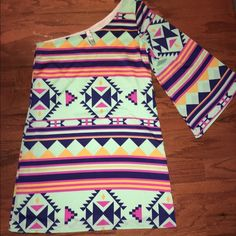 Dress Never worn super cute one sleeve aztec print dress from giddy up glamour!! Love this dress but it's too big for me and I've never been able to grow into it. Size small. Brand new!! Dresses One Shoulder