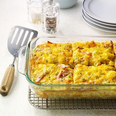 Loaded Tater Tot Bake Recipe -I keep frozen Tater Tots on hand for meals like this yummy casserole. It's a super brunch, breakfast or side dish for kids of all ages. —Nancy Heishman, Las Vegas, Nevada