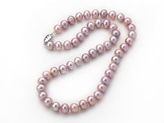 A Grade Nearly Round 8-9mm Natural Violet Freshwater Pearl Knotted Necklace