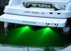 Underwater LED boat light These marine grade stainless steel lights add a pop of color in the water under the boat for an eye catching flare