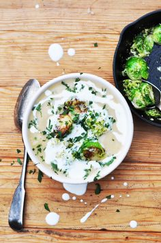 dash and bella: white bean soup with brown butter Brussels