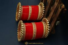 Red Color Kundan/Jerkan Wedding Bridal Chura By Punjabi Traditional Jewellery
