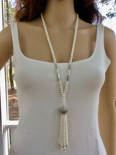 Great Gatsby Vintage Style Wedding Necklace, Bridal Pearl Art Deco Necklace
