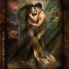 """Intertwined Souls"" - from my Fantastical Fantasy Collection. http://www.mysticmoonmedia.com/collections/art-gallery-giclee-prints-mystic-moon-media/products/intertwined-souls #FantasyArt #FantasyArtwork #DigitalPainting #FantasyArtPrints #digitalFantasyArt #dryad #tree #love  -C.Gerhardt"
