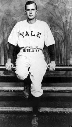 George Bush in Yale baseball uniform