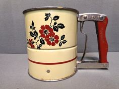 VINTAGE HALL RED POPPY FLOUR SIFTER 3 SCREENS #HALL