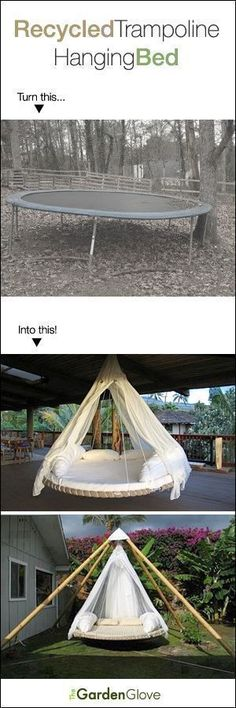 This trampoline turned hanging bed recycle DIY is so GENIUS! I want this!