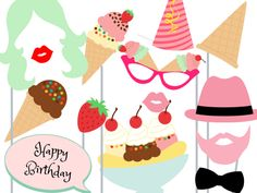 Planning an ice cream party? Check out this list of over 40 awesome ice cream party ideas - from diy decorations to treats to serving hacks and more! Photo Booth Party Props, Diy Photo Booth, Photo Booths, Photo Props, Ice Cream Theme, Ice Cream Party, Reindeer Photo, Sundae Party, Photobooth Props Printable
