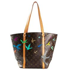 Louis Vuitton Hand Painted Monogram Shopper Bag | From a collection of rare vintage tote bags at https://www.1stdibs.com/fashion/handbags-purses-bags/tote-bags/