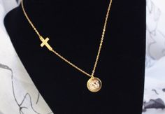 Engraved Monogram With Sideways Cross Necklace by spellingB, $26.00