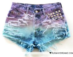 these shorts have EVERYTHING. vintage cut and rips, ombre pastel wash and icing on the cake - studded detail. love & want now