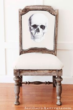 """DIY Halloween Skeleton Skull Chair 