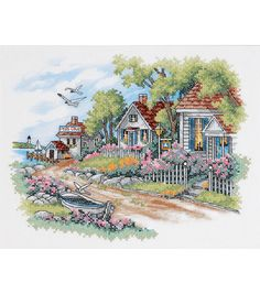 Cottages By The Sea Stamped Cross Stitch Kit   $26.99