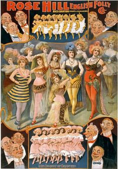 Vintage Burlesque Poster- I can't get over how those smarmy old dudes are lecherously leering at the women!