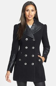 BCBGeneration Faux Leather Trim Military Peacoat