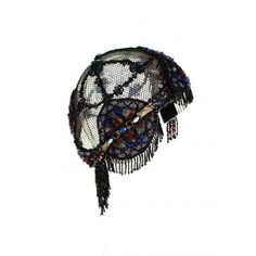 Original beaded cloches and headdresses are nearly impossible to find on the market today. Here we present to you, an extremely rare and substantial piece that came from a single collector as part of a time capsule collection that spanned some 30 years. An authentic Flapper headdress with a splendid array of tiny faceted seed beads handworked into a stunning African mosaic pattern on black net. 100% preserved and original. A tribute to the motherland.<br />