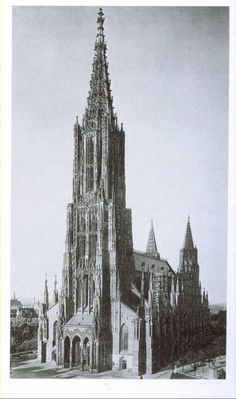 Cathedral at Ulm, Germany reached 529 feet tall. begun 1377 but the spire was not completed until 1800s.