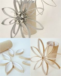 Snowflake ornaments made from cardboard rolls and spray paint + embellished centers, front and back.