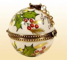 Limoges Christmas Ball With Holly And Red Berries Trinket Box