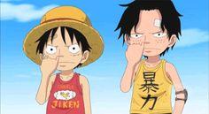 Ace, luffy follow general Garp  #Anime #OnePiece