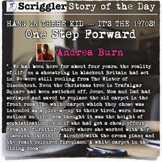 Scriggler Story of the Day:  HANG IN THERE KID — IT'S THE 1970S! One Step Forward by Andrea Burn https://scriggler.com/DetailPost/Story/33175