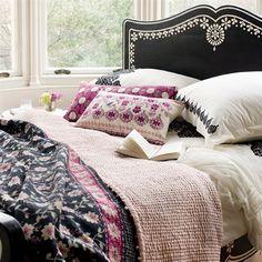 Niki Jones silk quilt in slate/rose -- multicolored pompoms on edge!