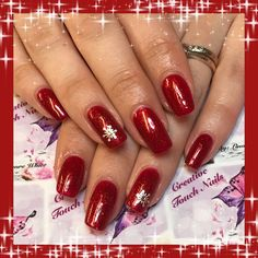 Sparkling red shellac with snow flake design