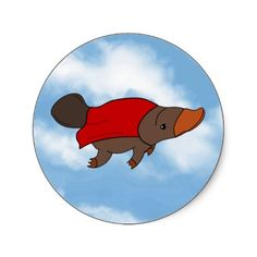 Shop Super Platypus Classic Round Sticker created by KhagerIdeas. Baby Platypus, Round Stickers, Custom Stickers, Mammals, Activities For Kids, Creatures, Kawaii, Disney Characters, Classic