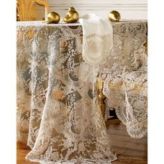 Horchow Chantilly Lace Oblong Tablecloth ($1,120) ❤ liked on Polyvore featuring home, kitchen & dining, table linens, ivory tablecloths, oblong tablecloth, oblong table cloth, cream tablecloth and ivory table cloths