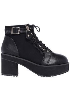 ROMWE | Shoelace Zippered Black Boots, The Latest Street Fashion