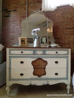 Antique Bedroom dresser in Annie Sloan's Chalk Paint™ with a  mix of Duck Egg and Paris Gray along with Old White, by Veronica of Bliss and Blossom Designs