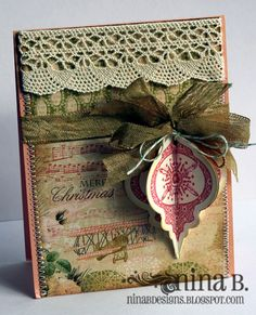 Gorgeous...vintage style card with crocheted lace trim, silky ribbon & three dimensional Christmas bulb...